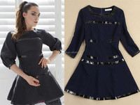 2014 Newest Fashion Designer Deep Blue 3/4 Sleeve Leather Patchwork Casual Autumn Dresses For Elegant Women