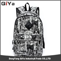 Korean style canvas military travel laptop backpack bag