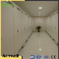 Amywell SGS formica laminate oak wood toilet cubicle partition