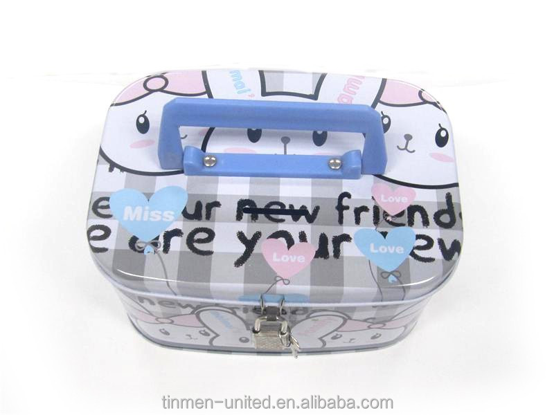 Hot sale cartoon rabbits lunch tin box with a plastic handle and a lock