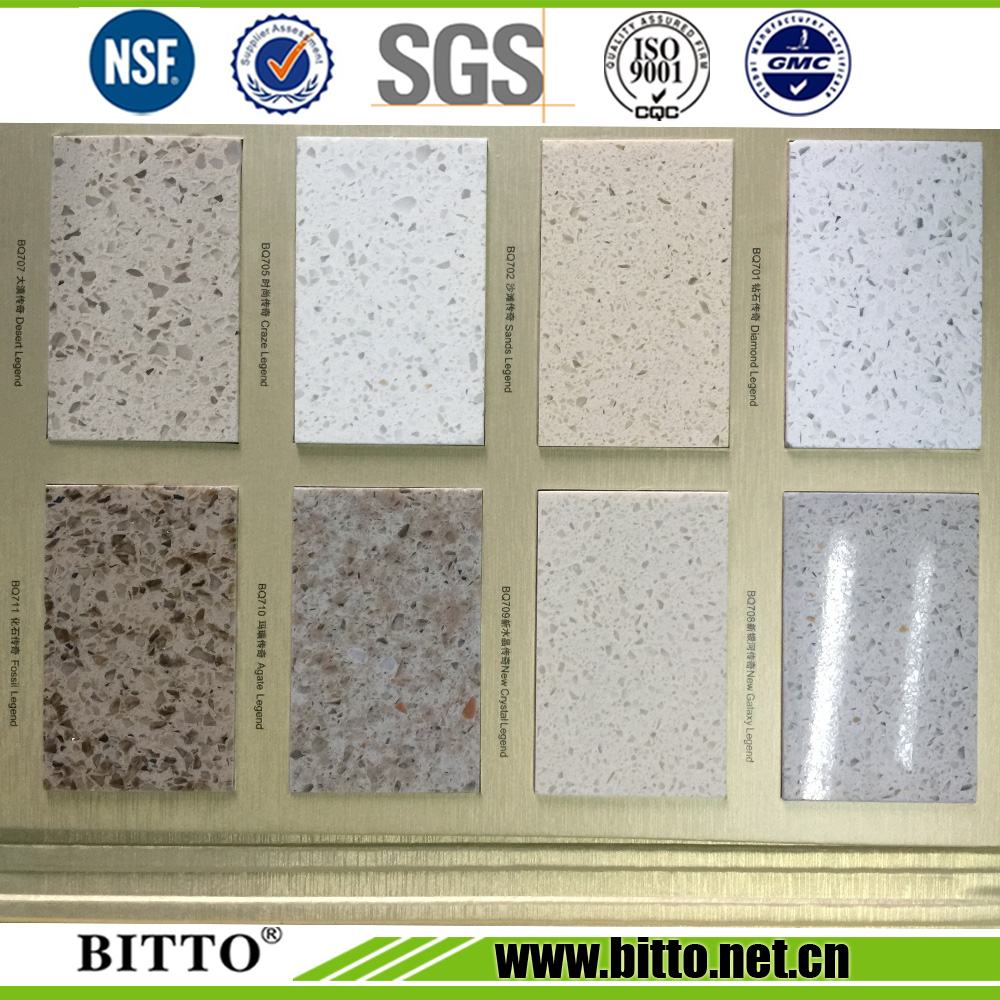 White sparkle artificial stone engineered stone quartz stone with mirror chips