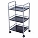 XM_410D 3 Tier Carbon Steel Adjustable Kitchen Shelf With wheels Storage Trolley Rack