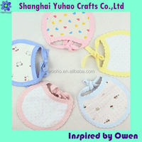 Custom drawcord closure cotton jersey baby bibs with printing