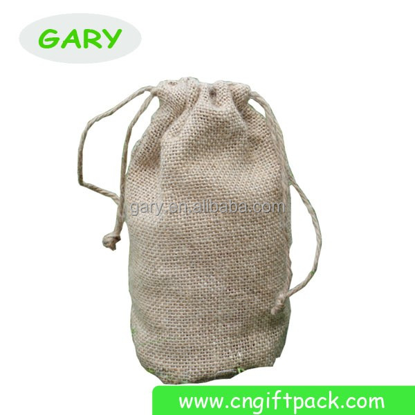 Round Bottom Drawstring Jute Bags Wine Thermos Bottle Bags