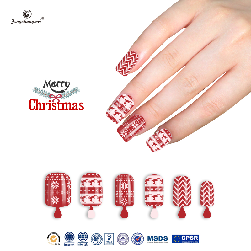 Fengshangmei popular nail tips artificial new design cheap red color nails