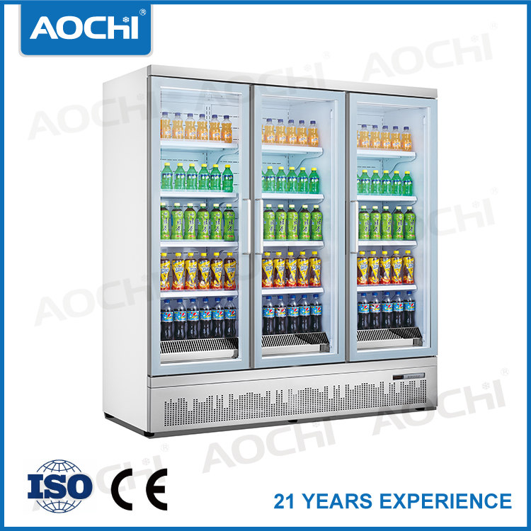 Triple tempered glass door commercial fridge and freezer combo beverage refrigerator Pure handle small display