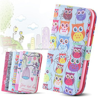 Owl Cute Case for Samsung Galaxy S4 i9500 Mobile Accessories Wallet Stand Flip Leather Wizard Bird Crown Cover for Galaxy S4