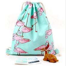 Bag for Shoes Girls Flamingos Shoe Bags for School Cotton Shoulder Travel Backpack Cotton Drawstring Bags for Shoes