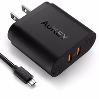 NEW version Quick Charge 3.0 AUKEY 2 Port USB Wall Charger with Micro-USB Cable for most mobile device
