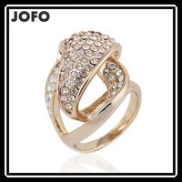 Wow!! Big Sale for Christmas Hot Selling Light Golden/Platinum Plated Micro Inlay Crystal Wedding Rings