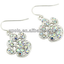 Bright Silver Plated And Iridescent Crystal Accents Cute Paw Print Fish Hook Earrings