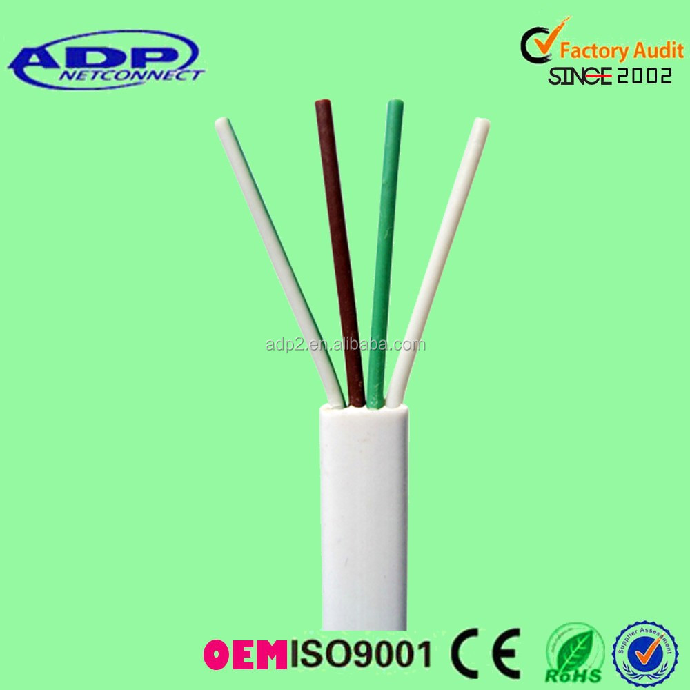 CE approved 4core copper Flat telephone cable 24awg 26awg