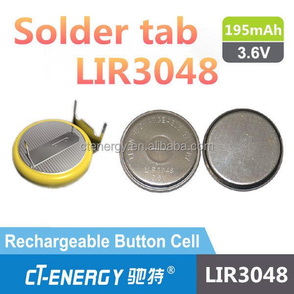 Rechargeable 3.6V Button cell LIR3048 with large capacity