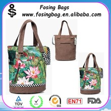 fashional vintage lotus printing canvas weekender bag