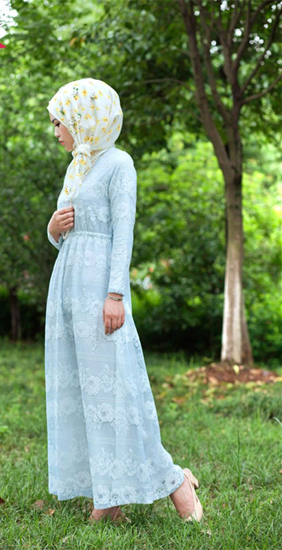 Printed 2017 latest design muslim long sleeve maxi dress