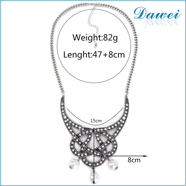 coiled thai silver jewelry necklace with white pearl