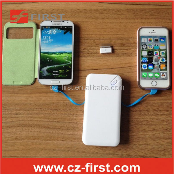 Slim Power bank 8000mAh Li-polymer with Built-in Micro USB Cable 8pin cable
