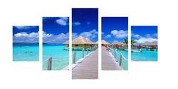 5 panel beach giclee printing canvas for bedroom