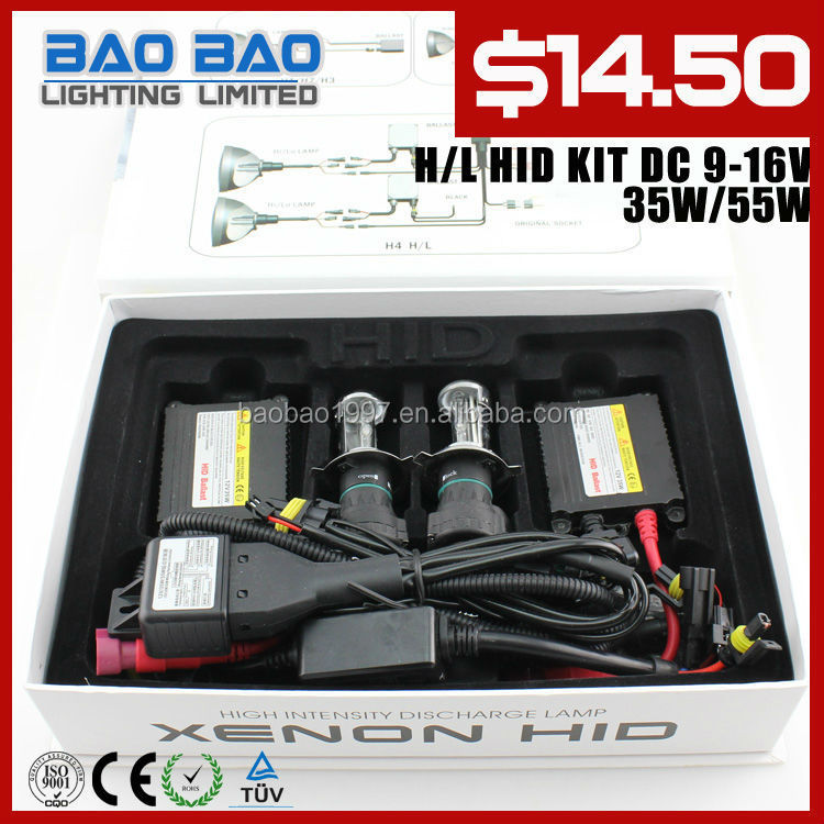 Factory direct 50% off car headlights H4 HID xenon lamp one year warranty 35W Auto HID Kit----BAOBAO LIGHTING