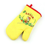 High Quality Kitchen Textile Yellow Microwave Kids Cotton Oven Gloves For Baking