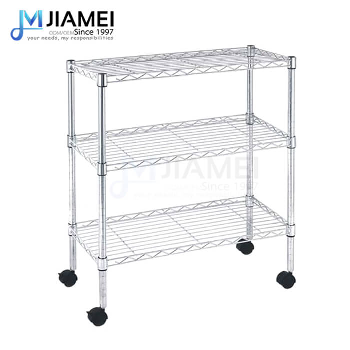 3 Tiers Rolling Light Duty Chrome Wire Shelving (JSW143036)