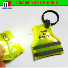 Custom design vest shape welding pvc light plastic reflective keychain