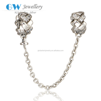 925 Sterling Silver Safety Chains 3A CZ European Safety Chains Fit European Bracelet