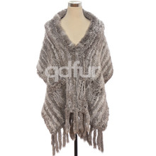 QD30405 Wholesale Alibaba Express 2014 Australia Fashion Hand Knitted Rabbit Fur Shawl With 15 CM Fringes