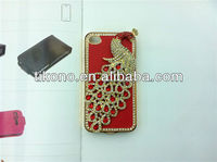 Luxury bling diamond rhinestone genuine leather&metal case for iphone 4 4g 4s