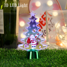 3D customized Christmas tree design printed acrylic 7 colors table desk lamp led night light projector