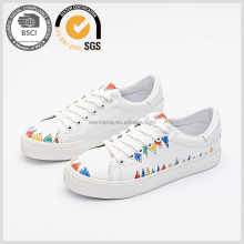Women's lace-up Micro leather sneakers ladies shoes 2017 arrivals pretty casual shoes wholesale