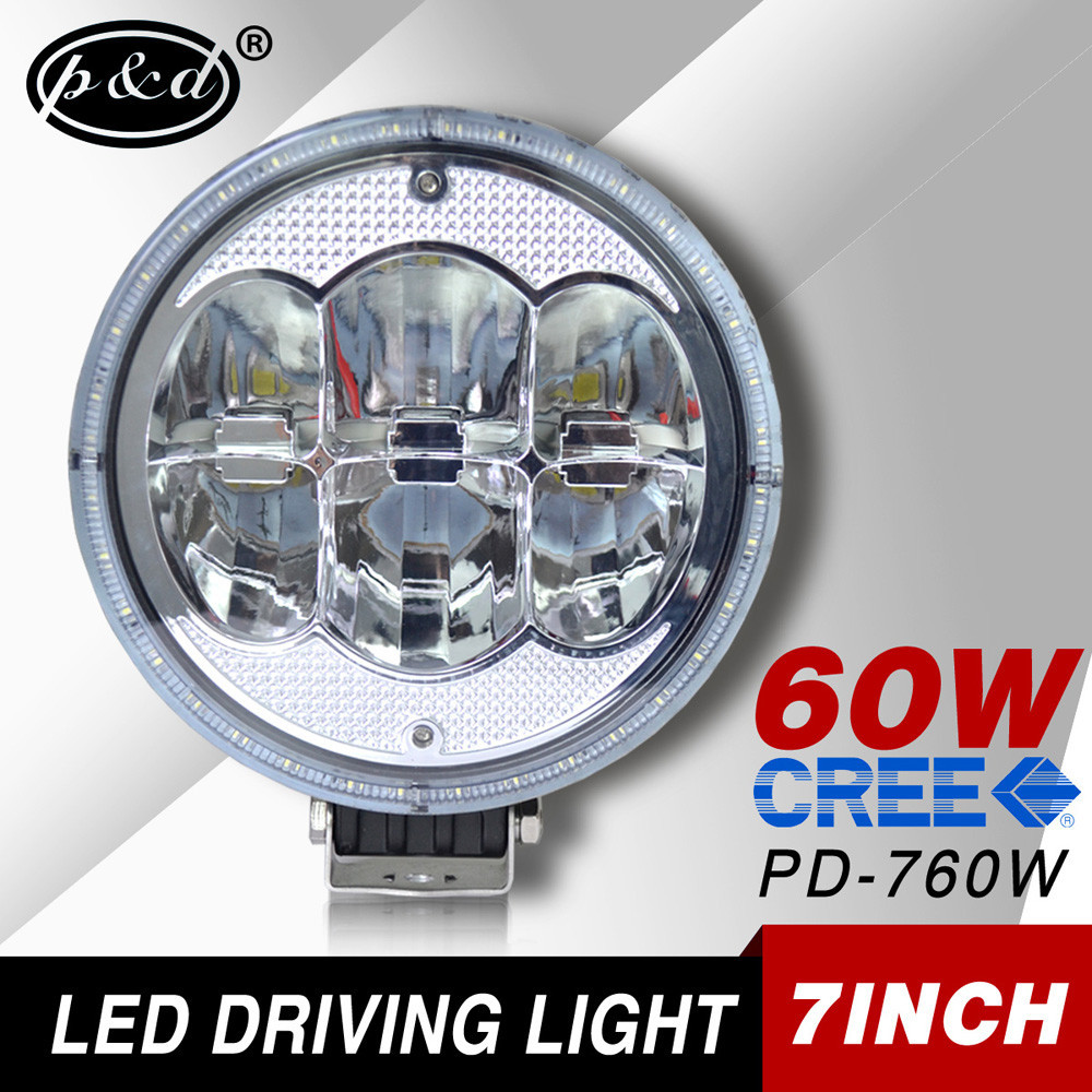 CE certified 7 Inch Super Bright 4x4 accessories 60W Led Working Lamp Offroad Led Driving Light