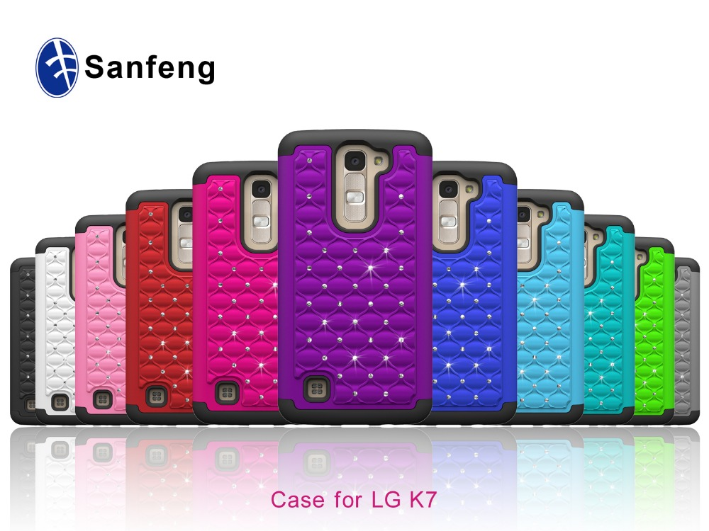 Top Selling Excellent Quality Rubberized Coating Diamond Bling Case for LG K7 Phone Case