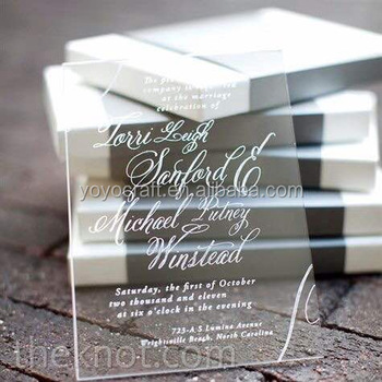 Acrylic wedding invitation card elegant laser cut style with wholesale price for your best choice