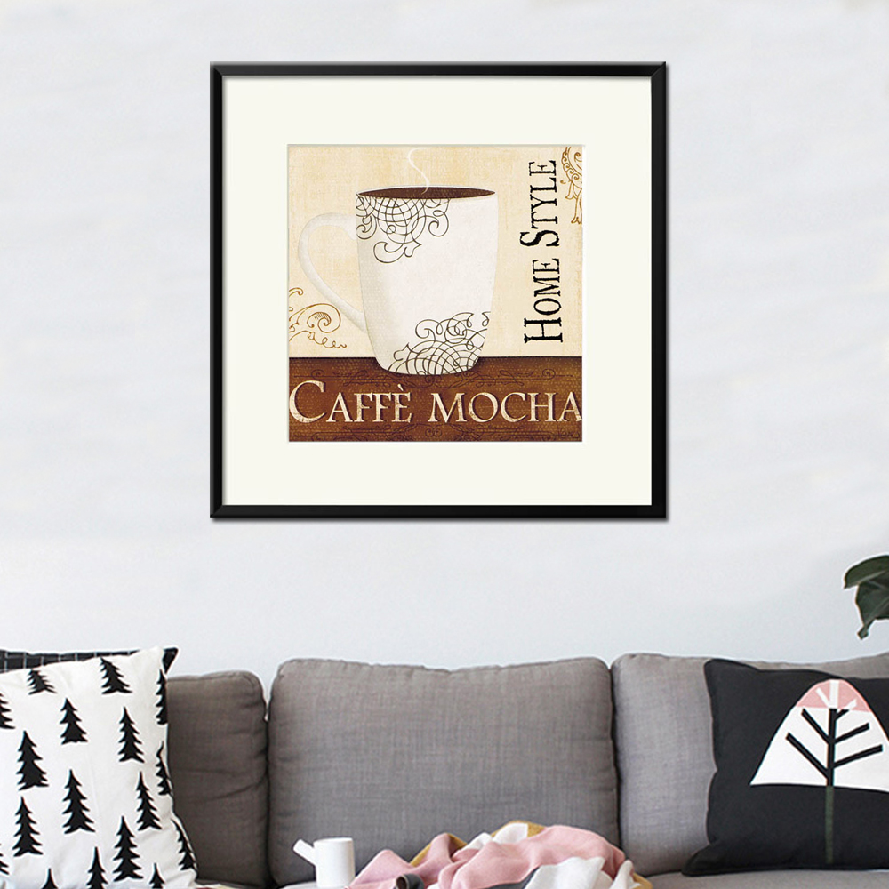 Home style white cup decor coffee painting mocha for hanging on the wall