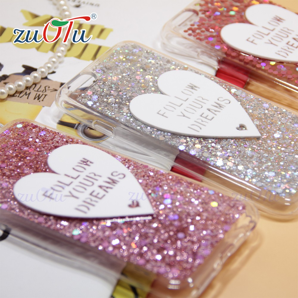 New fashion heart shaped liquid quicksand mobile phone case For iPhone 6
