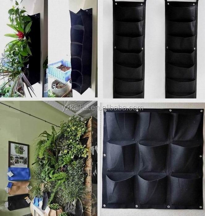 Pots Type and Recycle Poliester, Poliester Material Pockets Vertical Garden Grow Bags