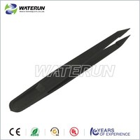 Plastic 93302 Cleanroom conductive point black tweezers