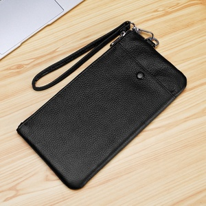 Wholesale factory soft genuine leather anti theft mens wallet with handle large capacity long wallet for men