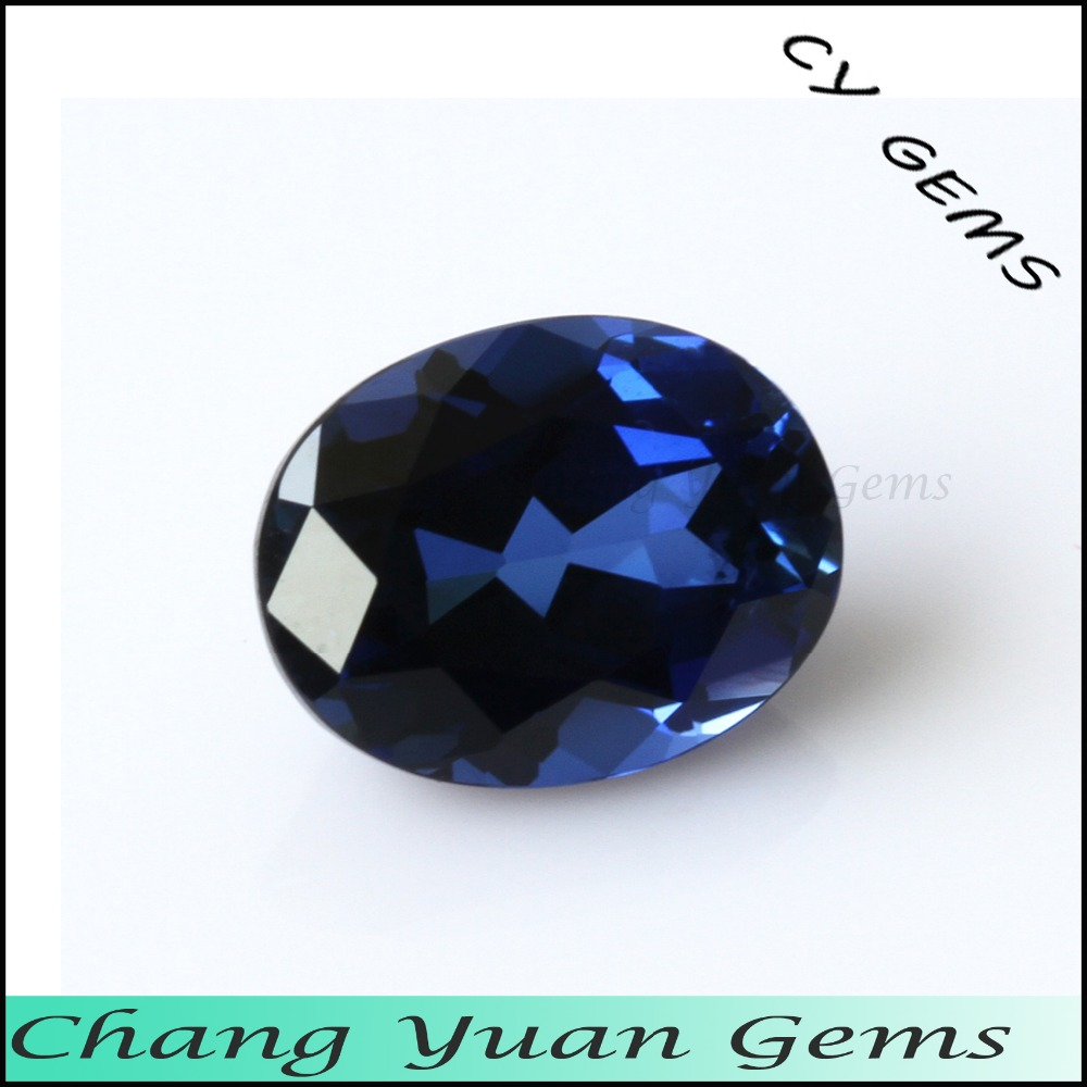 Oval shape blue sapphire synthetic stone
