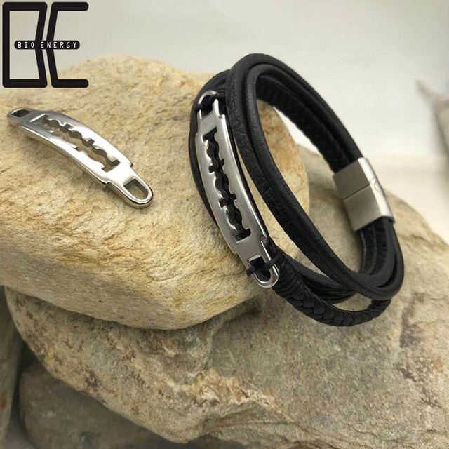 BE Cheap Price Charm Stainless Steel Silver Clasp Fashion Black Leather Bracelets Jewelry