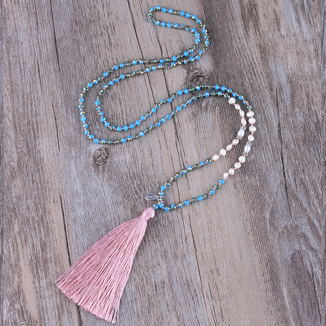 Beaded Crystal Pearl Necklace Pink Tassel Pendant Chain Fashion Jewelry