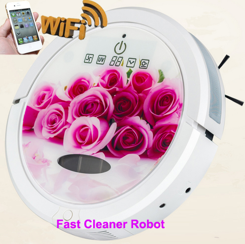 Smartphone app WIFI control vacuum robot cleaner with water tank wet and dry mop