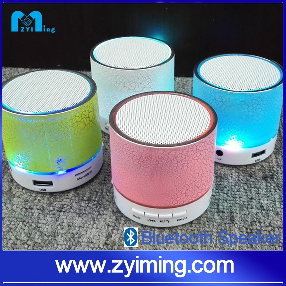 Zyiming wholesale mini wireless colorful LED light portable bluetooth speaker with TF card