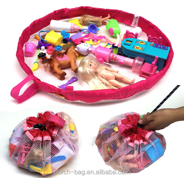 wholesale portable children toy organizer, kids bauble organizer hanging toy mesh storage