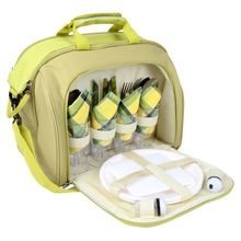 Fully Equipped Large Cooler Compartment Insulated Picnic Carry Bag for 4 Person