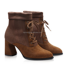 Women Ladies High Block Heel Ankle Boots Down Clubwear Lace Up Martin Shoes
