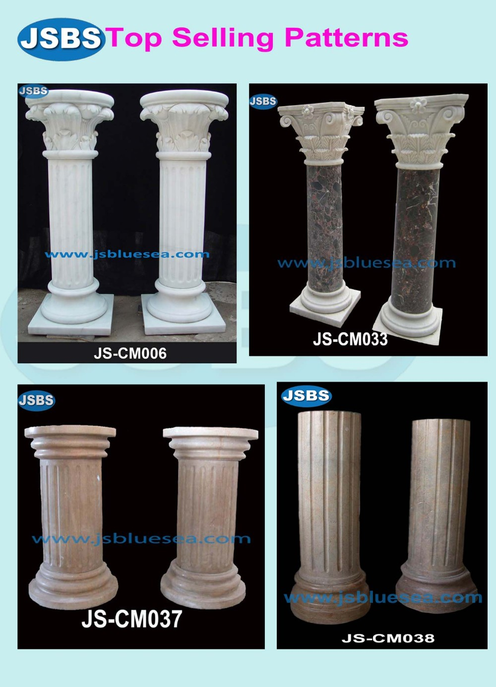 customized hand carved natural stone architectural column