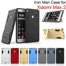 3 in 1 Rugged Impact Slim Shockproof Iron Man Hybrid Armor Case with Holder for Xiaomi Mi Max 2 Full Cover Protective Back Capa