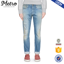 2016 OEM new style blue denim butt lift ripped jeans for men